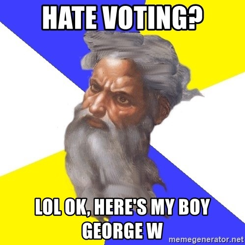 God - hate voting? lol ok, here's my boy george w