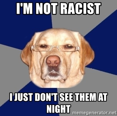 Racist Dawg - i'm not racist  i just don't see them at night