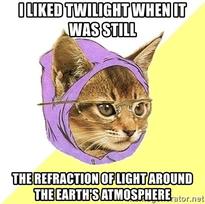Hipster Kitty - I liked Twilight When it was still  the refraction of light around the earth's atmosphere