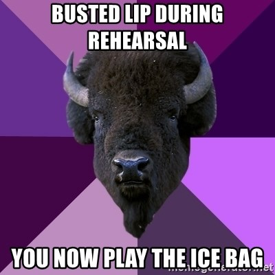 Fuck Yeah Band Buffalo - busted lip during rehearsal you now play the ice bag