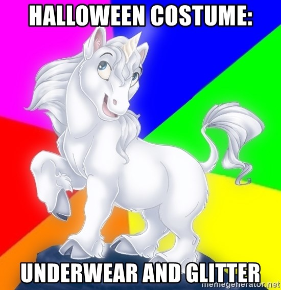 Gayy Unicorn - halloween costume: underwear and glitter