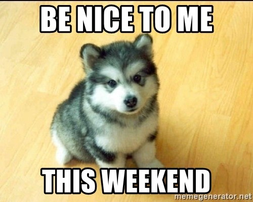 Baby Courage Wolf - be nice to me this weekend