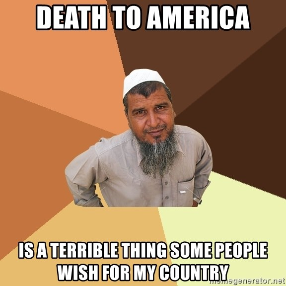 Ordinary Muslim Man - death to america is a terrible thing some people wish for my country