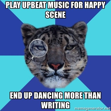 Writer Leopard - play upbeat music for happy scene end up dancing more than writing