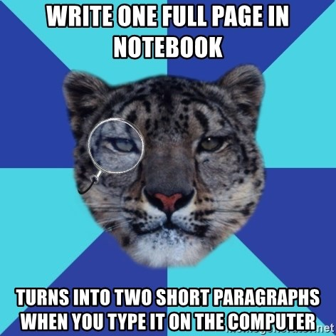 Writer Leopard - write One full page in notebook turns into two short paragraphs when you type it on the computer