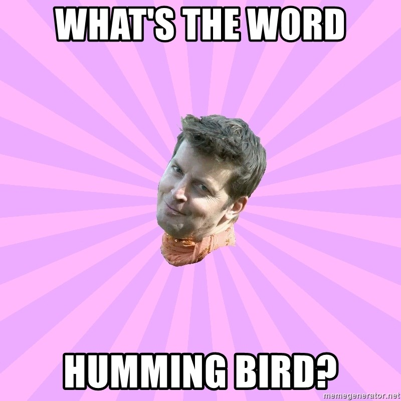 Sassy Gay Friend - What's the word humming bird?