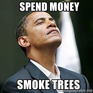 Pretentious Obama -    spend money   smoke trees