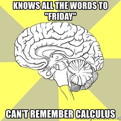 """Traitor Brain - Knows all the words to """"Friday"""" Can't remember calculus"""