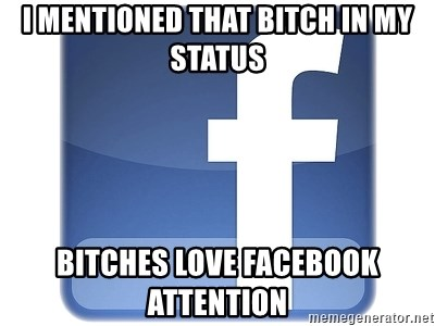 Facebook Logo - I MENTIONED THAT BITCH IN MY STATUS BITCHES LOVE FACEBOOK ATTENTION