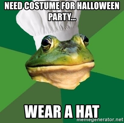 Foul Bachelor Frog - need costume for halloween party... wear a hat