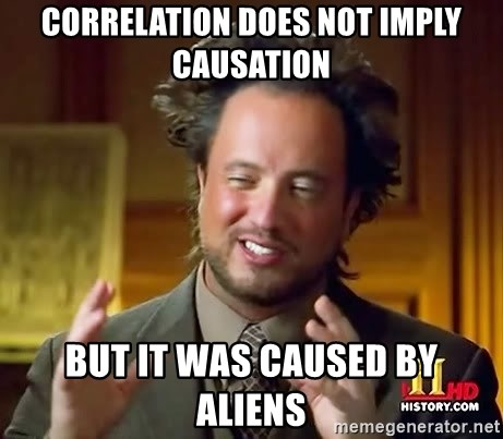 Ancient Aliens - Correlation does not imply causation but it was caused by aliens
