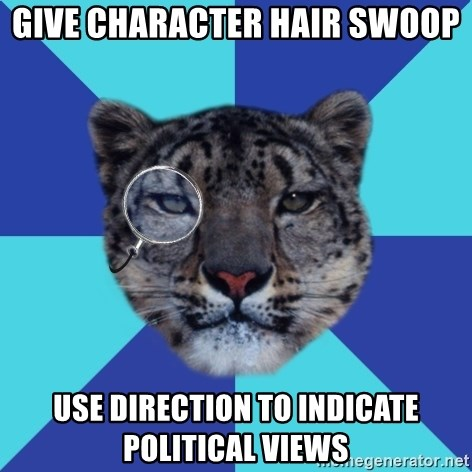 Writer Leopard - Give Character hair swoop use direction to indicate political views
