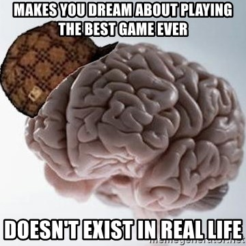 Scumbag Brain - Makes you dream about playing the best game ever doesn't exist in real life