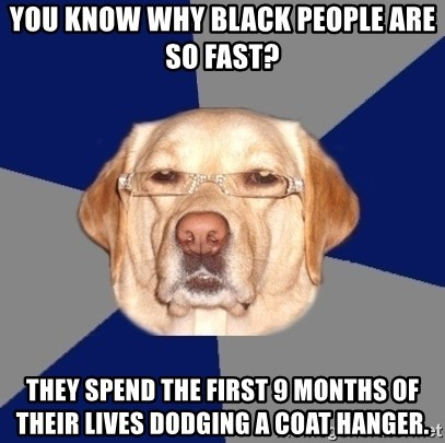 Racist Dog - you know why black people are so fast? they spend the first 9 months of their lives dodging a coat hanger.