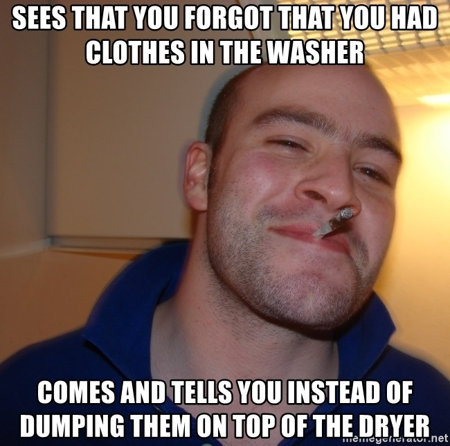 Good Guy Greg - sees that you forgot that you had clothes in the washer comes and tells you instead of dumping them on top of the dryer