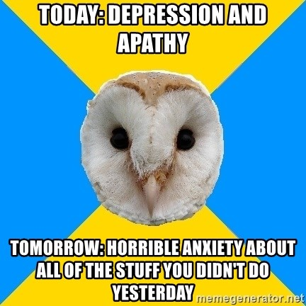 Bipolar Owl - today: depression and apathy tomorrow: horrible anxiety about all of the stuff you didn't do yesterday