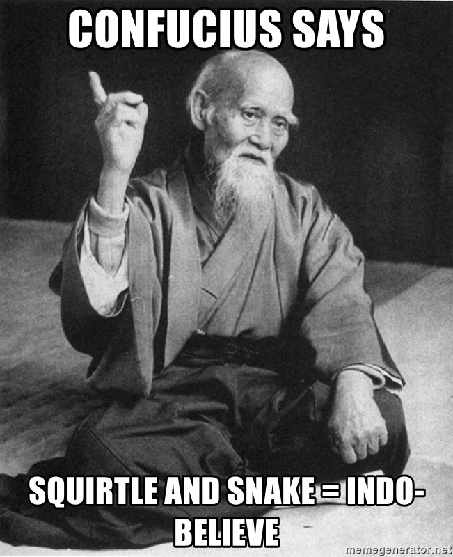 Bad Advice Asian - Confucius says squirtle and snake = indo-believe