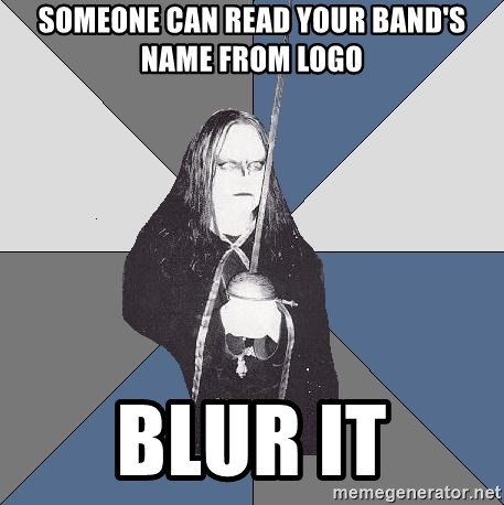 Black Metal Sword Kid - someone can read your band's name from logo blur it