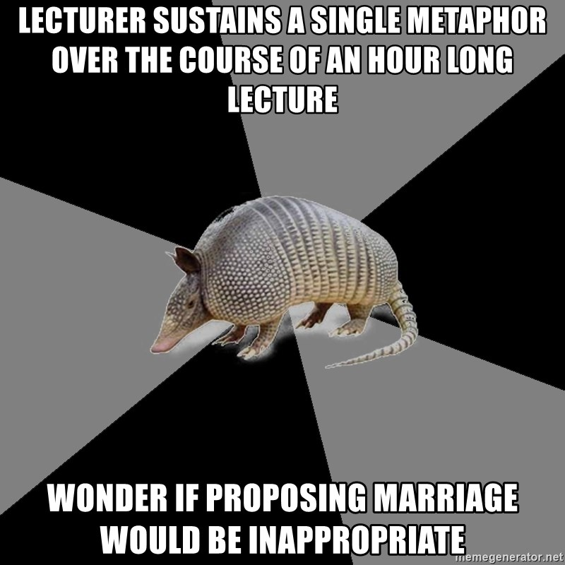English Major Armadillo - Lecturer sustains a single metaphor over the course of an hour long lecture wonder if proposing marriage would be inappropriate