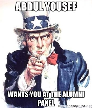 Uncle Sam - ABDUL YOUSEF WANTS YOU AT THE ALUMNI PANEL