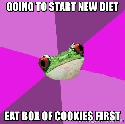 Foul Bachelorette Frog - Going to start new diet eat box of cookies first