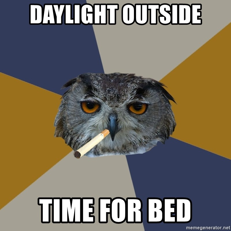 Art Student Owl - daylight outside time for bed