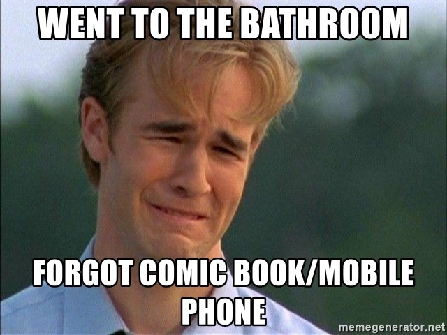 Crying Man - Went to the bathroom Forgot comic book/mobile phone