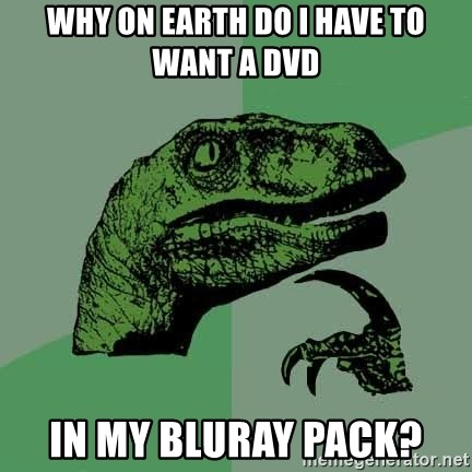 Raptor - why on earth do i have to want a dvd in my bluray pack?
