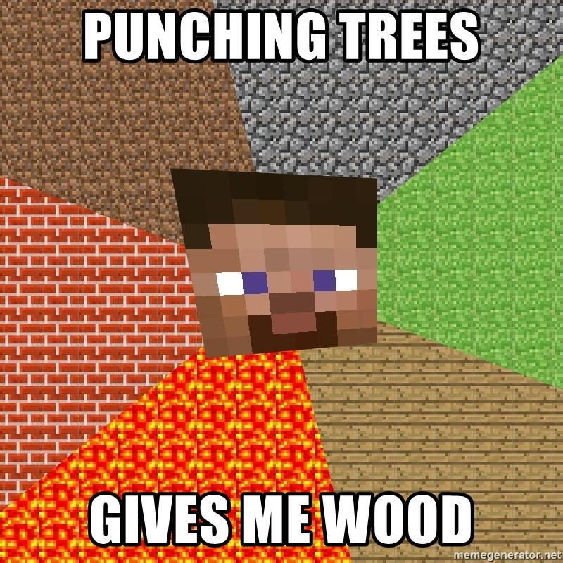 Minecraft Guy - Punching Trees Gives Me Wood