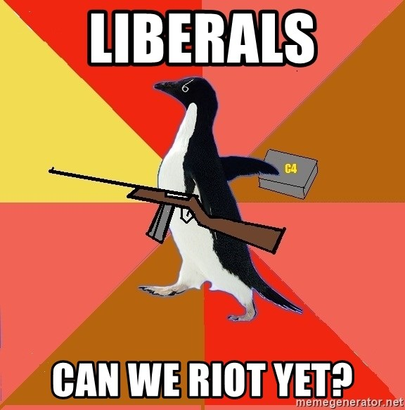 Socially Fed Up Penguin - liberals can we riot yet?
