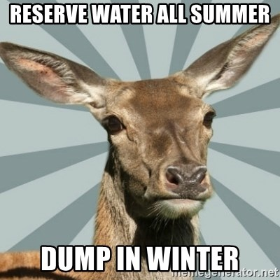 Comox Valley Deer - Reserve water all summer Dump in winter