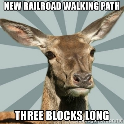 Comox Valley Deer - New railroad walking path three blocks long