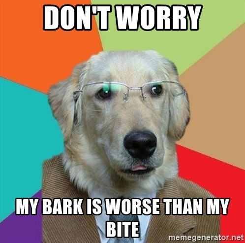 Don't Worry My bark is worse than my bite - Business Dog