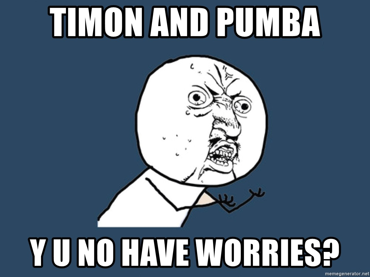 Y U No - Timon and pumba y u no have worries?