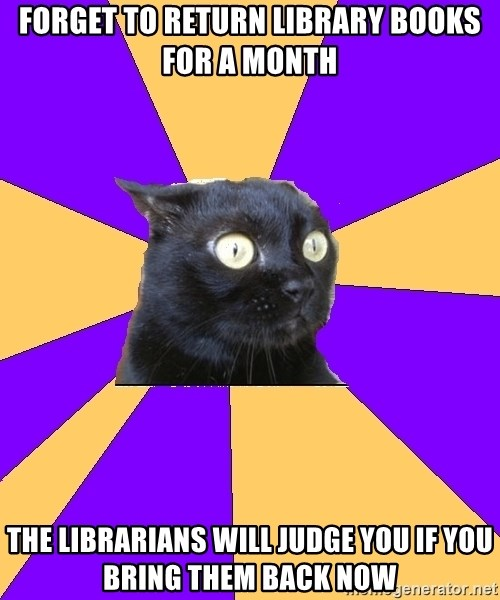 Anxiety Cat - FORGET TO RETURN LIBRARY BOOKS FOR A MONTH THE LIBRARIANS WILL JUDGE YOU IF YOU BRING THEM BACK NOW