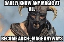 Skyrim Meme Generator - Barely know any magic at all become Arch--mage anyways
