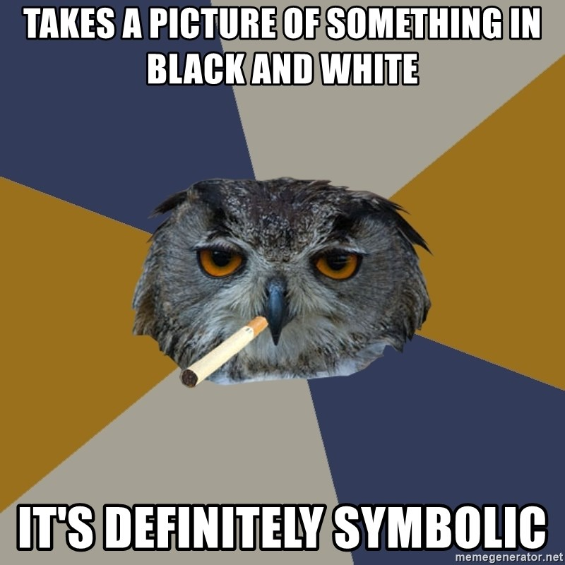 Art Student Owl - takes a picture of something in black and white it's definitely symbolic
