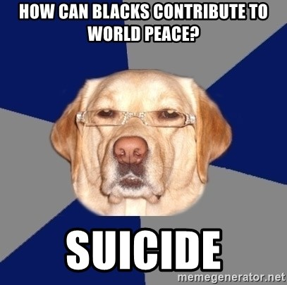 Racist Dawg - how can blacks contribute to world peace? suicide