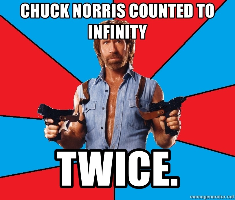 Chuck Norris  - Chuck Norris counted to infinity twice.