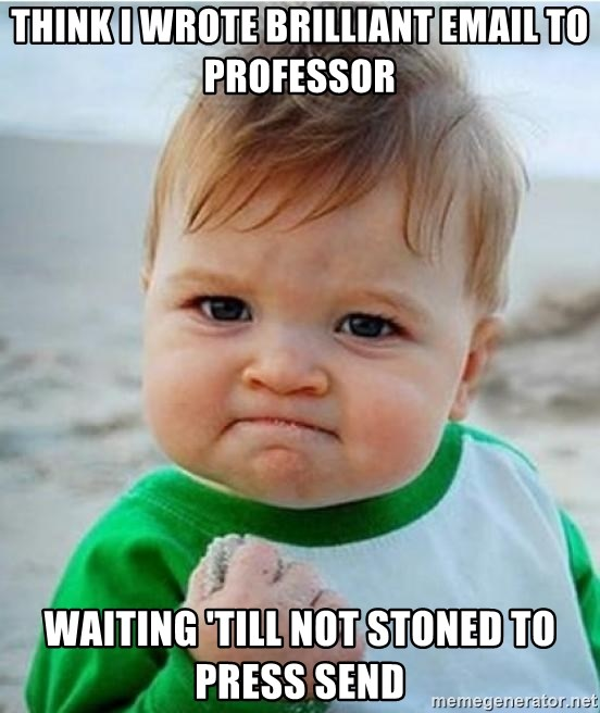 victory kid - Think I wrote brilliant email to professor Waiting 'till not stoned to press send