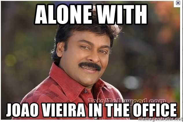 Typical Indian guy - alone with joao vieira in the office