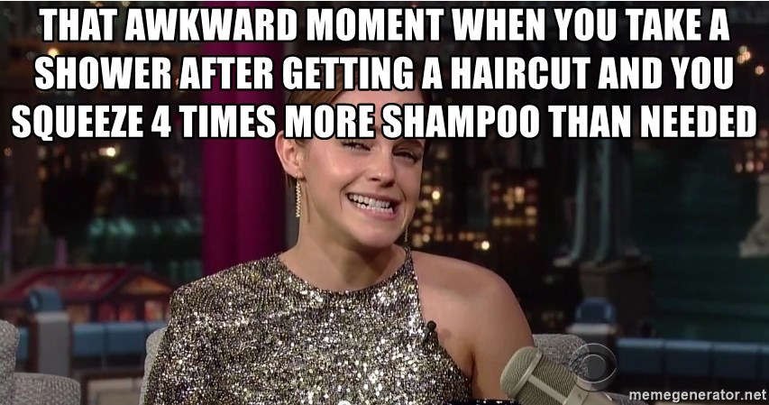 Emma Watson Trollface - That awkward moment when you take a shower after getting a haircut and you squeeze 4 times more shampoo than needed