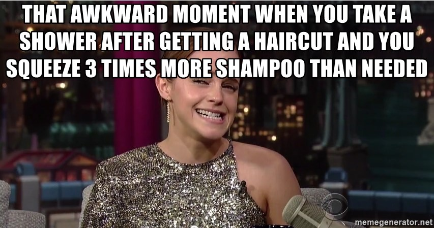 Emma Watson Trollface - That awkward moment when you take a shower after getting a haircut and you squeeze 3 times more shampoo than needed