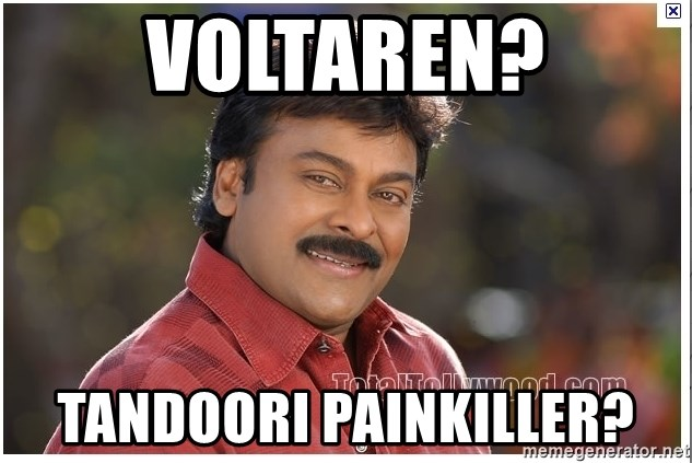 Typical Indian guy - voltaren? tandoori painkiller?