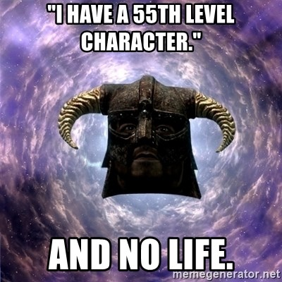 """Skyrim - """"I have a 55th level character."""" And no life."""
