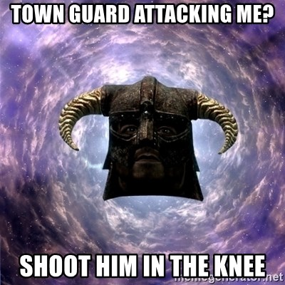 Skyrim - Town guard attacking me? Shoot him in the knee