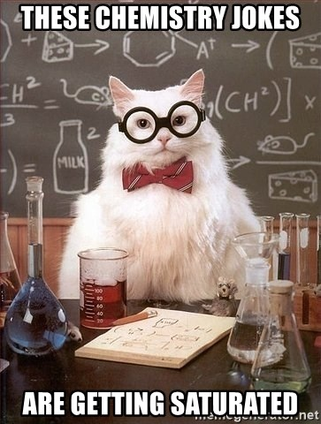 Chemist cat - ThEsE CHEMISTRY JOKES ARE GETTING SATURATED