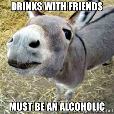 Assumptions Donkey - drinks with friends must be an alcoholic