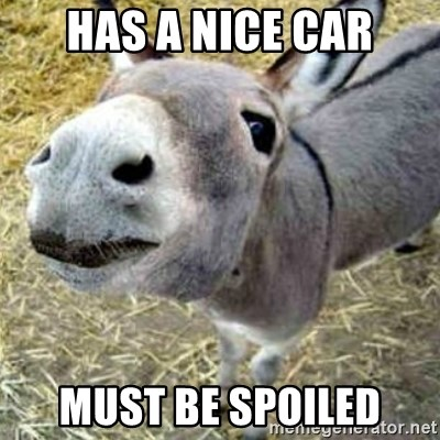 Assumptions Donkey - Has a nice car must be spoiled