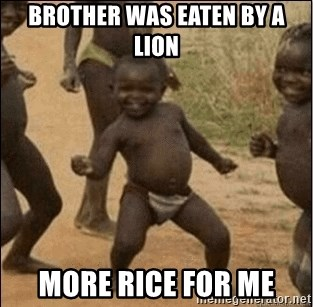 Third World Success - brother was eaten by a lion more rice for me